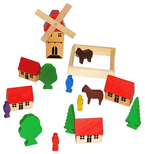 alles-meine.de GmbH 19 TLG. Set: buntes Dorf mit Windmühle, Häuser & Bäume, Figuren und Bausteine - aus Holz - Baukasten - Original Erzgebirge - ideal für Holzeisenbahn Gebäude Z..
