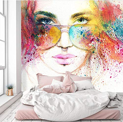 Acuarelas 3D Gafas de sol Chica Papel tapiz mural Fotomural Adhesivo Murales-250cmx175cm