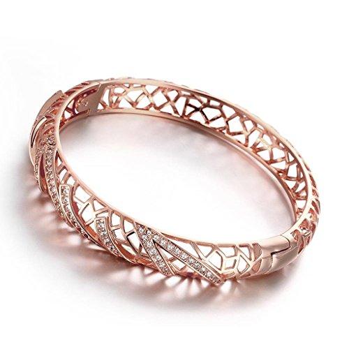 Aeici Oro Rosa Braccialetto per Donne Cz Cavo Design Lunghezza: 17Cm