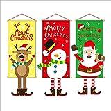 QQDD 3 Stück Weihnachtsdekoration Weihnachtliche Hängende Flagge, Weihnachtsflaggen, Türvorhang, Festival-Dekoration, Banner (Color : Multi-Colored)