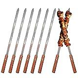 ZEEREE 8 Piezas brochetas de Barbacoa de Acero Inoxidable, 39,5cm Kebab de...