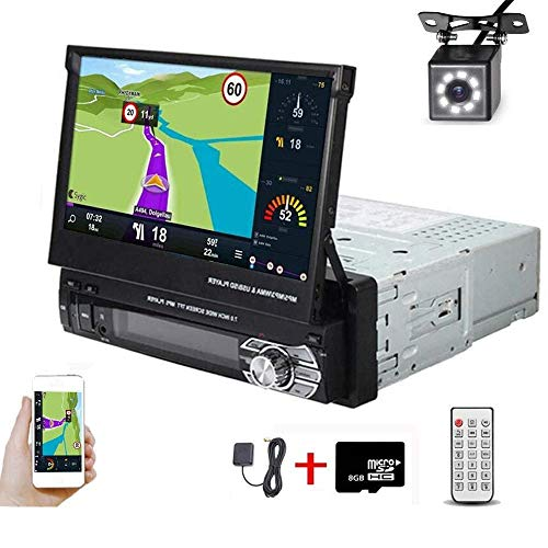 Hikity Single Din Car Stereo 7 Inch Touch Screen Radio with GPS Navigation Supports Bluetooth Hands-Free FM Radio Mirror Link for Android iOS Phone + Backup Camera & 8G Map Card