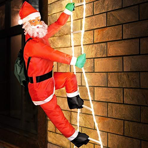 Deuba Babbo Natale LED appeso sulla scala XL 90cm per interni ed esterni Santa Claus Figura natalizia decorazione luci finestre pupazzo
