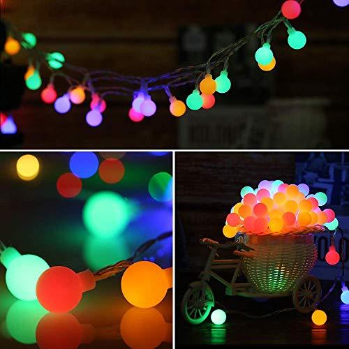 Lichterkette Außen Batterie, Kriogor 50 LED 7M Globe Lichterkette, IP44 8 Modi Wasserdicht Innen und Außen Kugel Beleuchtung für Party Hochzeit Weihnachten Garden Decor (Bunt)