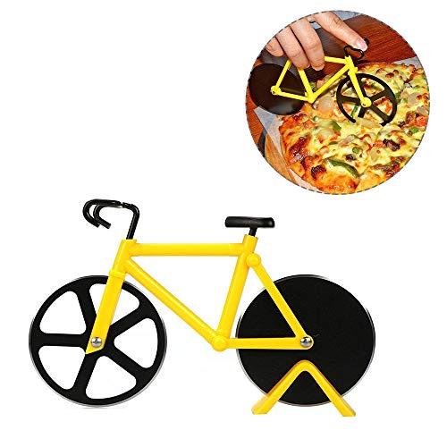 Bicicletta Ruota Tagliapizza, Tagliapizza a Forma Bicicletta in Acciaio Inox Lame con Rivestimento Antiaderente Utensili da Cucina con Cavalletto Facile da Pulire Pizza Affettatrice (Giallo)