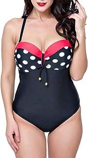 comprar comparacion Mujer Retro 50s Punto Bikini Tallas Grandes Bañadores Una Pieza Traje De Baño Monokinis