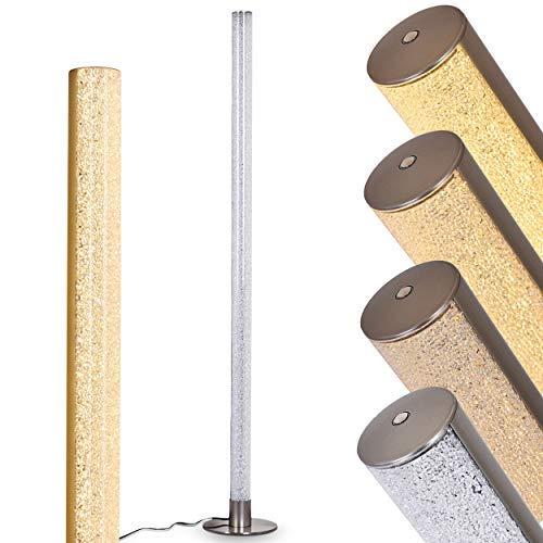 LED-bodemlamp Pijp van metaal in mat nikkel, vloerlamp met 3-staps aanraakdimmer op de behuizing, 1 x 14,5 watt, 1200 lumen, 3000 Kelvin (warm wit), vloerlamp met glinstereffect