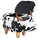 OLizee Decorative Cow Storage Ottoman Footstool Cute Animal Upholstered Stool for Kids Wooden Accent Footrest, Black White