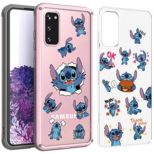 PICAVINCI SwitchME Galaxy S20 Case, Stitch Emoji Cute Cartoon Blue Matte Hybrid Protective Cover