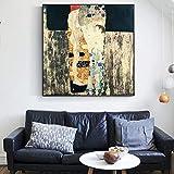 SQSHBBC Le Tre età della Donna Quadri murali Gustav Klimt Quadri Famosi in Tela Riproduzioni su Tela Poster per Soggiorno Cuadros 60x60cm Senza Cornice