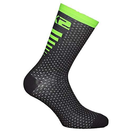 SIXS Socken Arrow Merinos, Schwarz/Neongrün, Größe 39