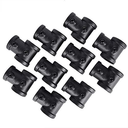 GoYonder 10 Stück schwarze Gussrohr-Armatur T-Stück 3/4 Zoll Vintage Sanitär-Gewinde Rohrnippel passend für industrielle Rohrregale und Steampunk-Projekte.