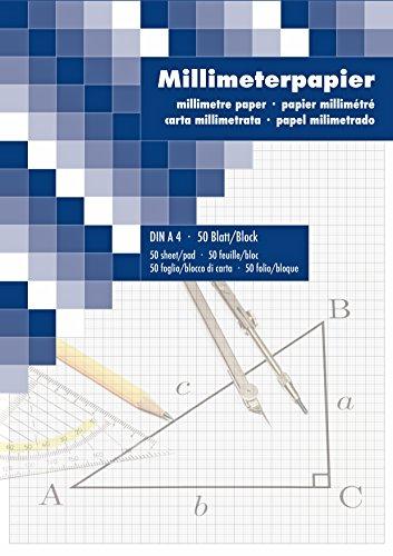 Millimeterpapier Zeichenblock technisches Zeichnen 50 Blatt DIN A4 2ér Pack