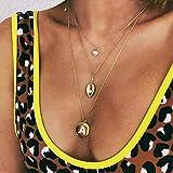 Jovono Collar con colgante de letra A multicapa de moda, collar con diamantes de imitación, joyería para mujeres y niñas (dorado)