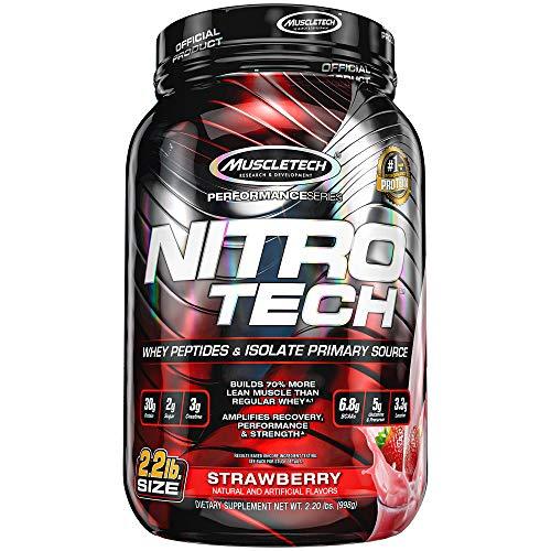 Whey Protein Pulver, MuscleTech Nitro-Tech Whey Protein Isolate & Peptides, Eiweißpulver für den Muskelaufbau, Proteinpulver für Männer und Frauen, Erdbeere, 998g (22 Portionen)