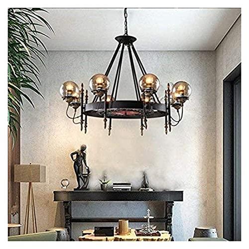 Palm kloset Ara?a esférica mágica nórdica Redonda/Creativa/Vidrio/Sala de Estar Dormitorio Comedor/lámpara de ara?a, 8 Cabezas