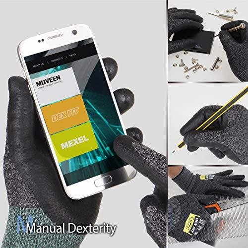 DEX FIT Guantes Anticortes de Nivel 5 Cru553, Ajuste Cómodo Elástico 3D, Buen Agarre, Recubrimiento de Espuma Duradero de Nitrilo, Táctil, Fino y Ligero, Lavable, Negro-Gris 8 (M) 1 Par