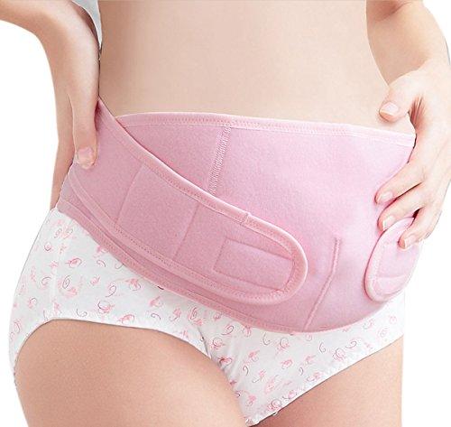 FEOYA - Faja Premamá Cinturón Banda de Maternidad del Vientre Moldeadora Transpirable Elástico Firme Apoyo Prenatal Postparto - Rosa - L