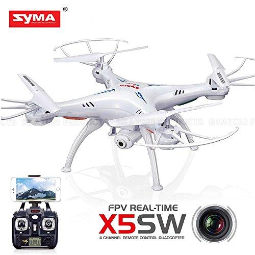 Gifts SHATCHI-1379 Syma X5SW‿Dron 4 canaux FPV en temps réel Blanc