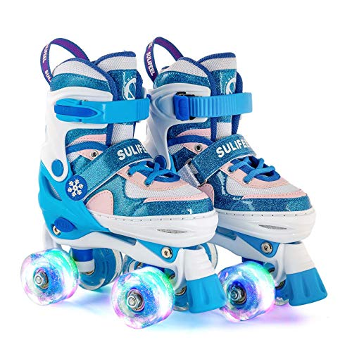 Photo of Sulifeel Ice Snow Adjustable Roller Skates for Kids with Light up Wheels for Girls and Boys – Medium(12-2UK)