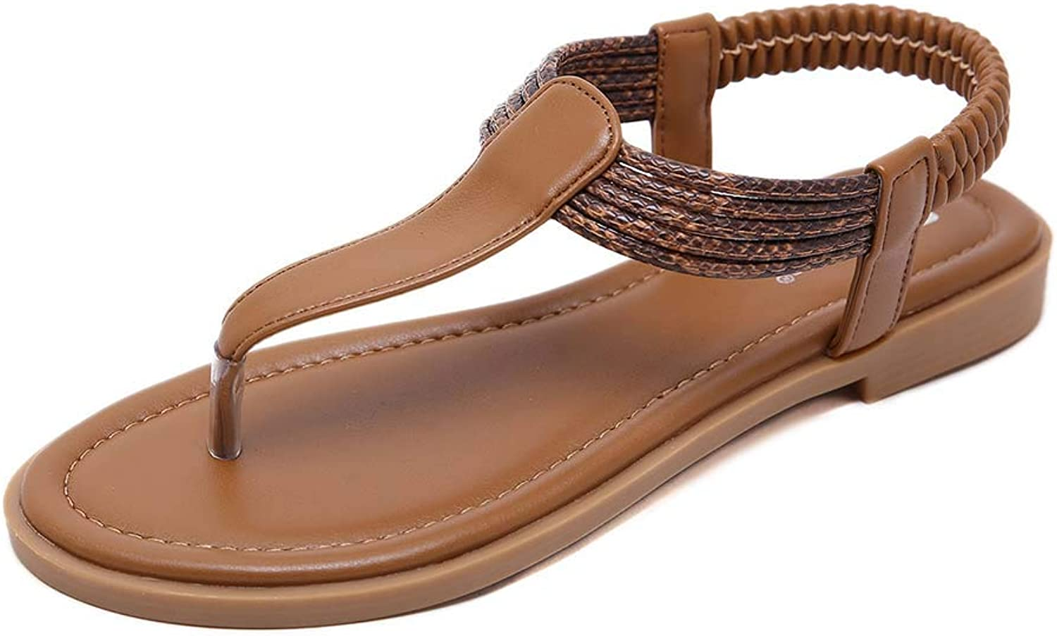 Women's Braided Strap Thong Flat Bohemian Slip On Flip Flops shoes T-Strap Casual Sandals,Brown,40