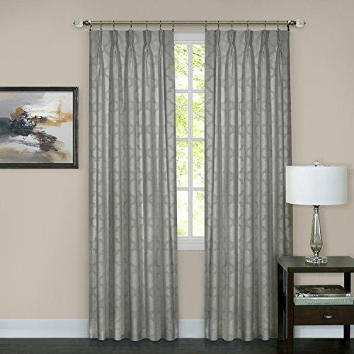 "Achim Home Furnishings, Silver Windsor Pinch Pleat Pane, 34 by 63"", 34 x 63"