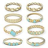 CT Jewelry Nudillo Anillos Set Sencillo Múltiple Turquesa Oro 14K Antiguos Mujer Regalos Vacaciones, Or