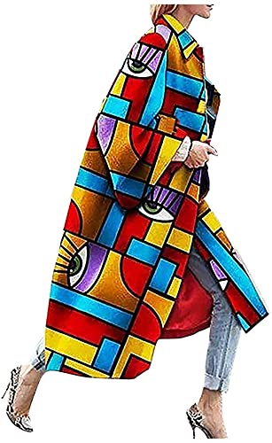 RTYUIO Chaquetas de otoño a la Moda, cárdigan Largo, Abrigos para Mujer, Invierno, Boho, Acampanado, Mangas Acampanadas, Prendas de Vestir Informales étnicas Multicolores