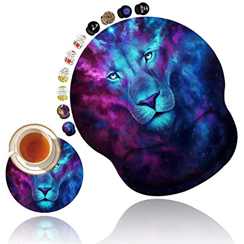 Ergonomic Mouse Pad with Gel Wrist Rest Support, Non Slip PU Base Mouse Pad Wrist Rest for Computer, Laptop, Home Office Gaming, Working, Easy Typing & Pain Relief Starry Lion Design + Cup Coaster