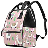 laire Daniel Llama Alpaca Cactus Mummy Backpack Multi-Function Diaper Bag for Baby Care Travel Backpack Wide Open Nappy Bags Handbags