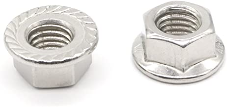 M12 Flange Nuts, 10 Pieces M12 Serrated Hexagon Flange Lock Nuts, Height 12mm Silver, Metric
