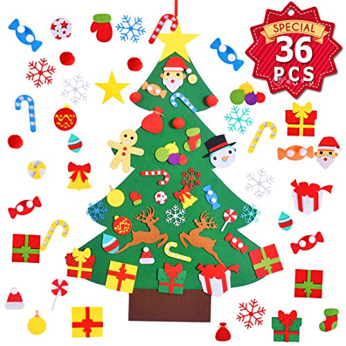 Max Fun 37 x 27 Inch Children's Felt Christmas Tree Set with 36PCS Ornaments DIY Home Decoration Wall Hanging Children's Felt Craft Kits for Christmas, New Year, Various Festivals