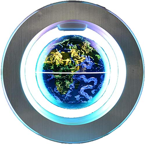 KJHG Globo flotante electrónico de 6 pulgadas, brilla en la constelación, globo terráqueo, marco redondo, luces LED, estrellas giratorias, regalos únicos, decoración globo flotante magnético