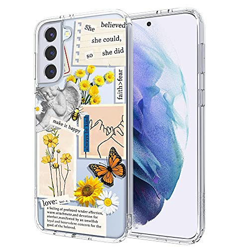 MOSNOVO Case for Samsung Galaxy S21 Plus, Vintage Collage Sunflower Butterfly Slim Clear Case Design with Shockproof TPU Bumper Protective Cover Case for Women Girls
