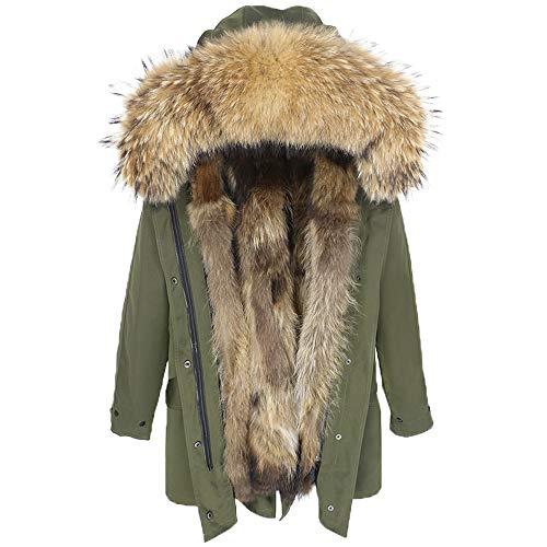 Damen Luxury Parka XXL Kragen aus 100% ECHTPELZ ECHTFELL Jacke Mantel Fuchspelz Innenfutter (L, Khaki)
