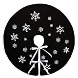 N&T NIETING - Gonna per albero di Natale, 76 cm, con stampa a fiocco di neve bianca, nera, rustica, decorazione per albero di Natale