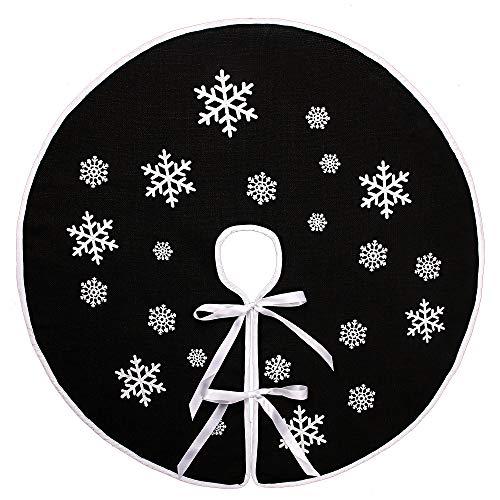 N&T NIETING Schwarz Weihnachtsbaum Rock Weiße Schneeflocke Gedruckt Sackleinen Weihnachtsbaumteppich Ornamente Dekoration für Weihnachten (36 Inches)