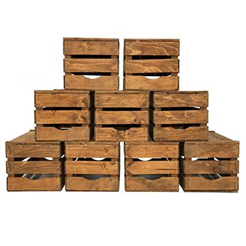 Set 9 Cassette Legno Frutta Nuove Resistenti Colore Noce Scuro per scaffali e librerie 50x30x28 …