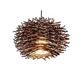 Abat-jour Lampadaires tissés à la main Lampes Cafe Bar Chandelier Creative E27 en rotin tissé E27 .Both Pratique et…