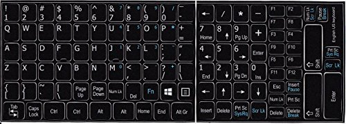 English US with additional key non transparent keyboard stickers