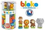 BLOKO – 503618 – Tube de 100 'BLOKO' avec 4 figurines 3D de la Jungle - Dès 12 mois - Fabriqué en EUROPE - Jouet de construction 1er âge