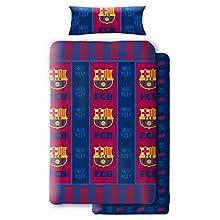 Asditex Juego de Sábanas Coralina F.C. Barcelona, 3 Piezas (1 Sábana Encimera, 1 Funda de Almohada y 1 Sábana Bajera), Diseño con Escudos del Barcelona Azulgrana. (90 cm)