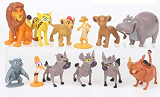 Deluxe Cake Toppers Cupcake Decorations 12 Set with 10 Figures From The Lion King Movie, Movie Sticker and LKRing Featuring Simba, Scar, Hyenas