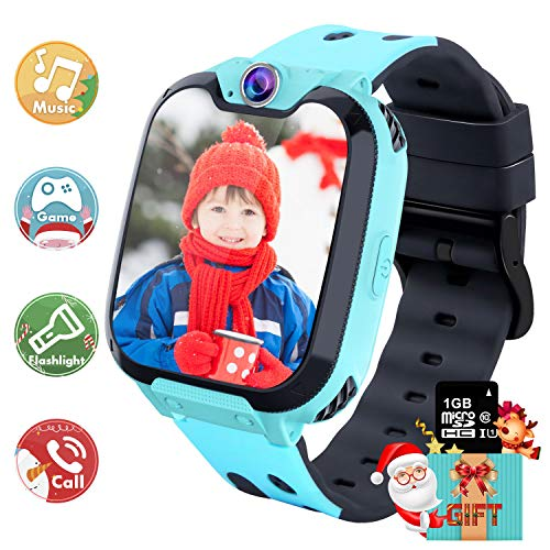 YENISEY Kids Smart Watch - HD Touch Screen Sports Smartwatch Built in SD Card Two-Way Call Camera Games Recorder Alarm Clock Music Player Calculator for Birthday Gift Toys Children Boys Girls (Blue)
