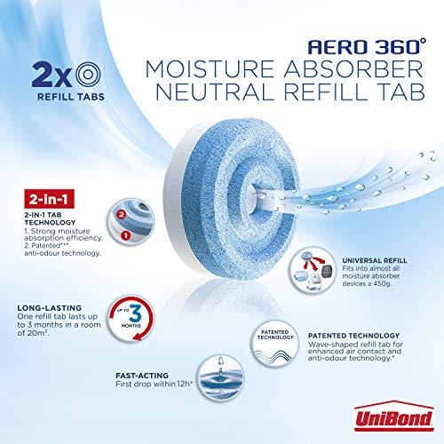 UniBond 2106199 AERO 360° Moisture Absorber Neutral Refill Tab, Ultra-Absorbent and Odour-Neutralising, for AERO 360° Dehumidifier, Condensation Absorbers, Pack of 4 (4 x 450 g)