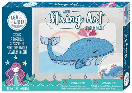 Sea & Do Whale String Art Jewelry Holder Picture Kit for Tweens from Bright Stripes - Kids String Arts and Crafts Kit - Fun Creative Activity Includes Predrilled Plaque, String, Nails, and Hammer