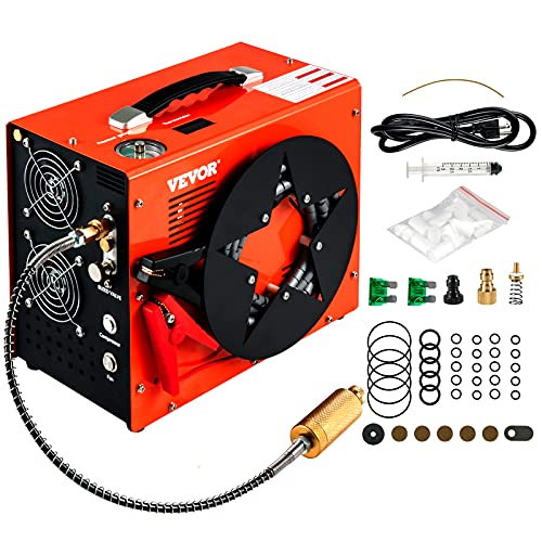 VEVOR PCP Air Compressor, 4500PSI Portable PCP Compressor, 12V DC 110V/220V AC PCP Airgun Compressor Auto-stop, w/Built-in Adapter, Fan Cooling, Wire Spool Suitable for Paintball, Scuba, Air Rifle