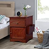 SSLine Wood Nightstand with One Drawer and Cabinet Classic Cherry Bedside Table Sofa End Table with Magazine Rack - 18' L x 18' W x 23.4' H