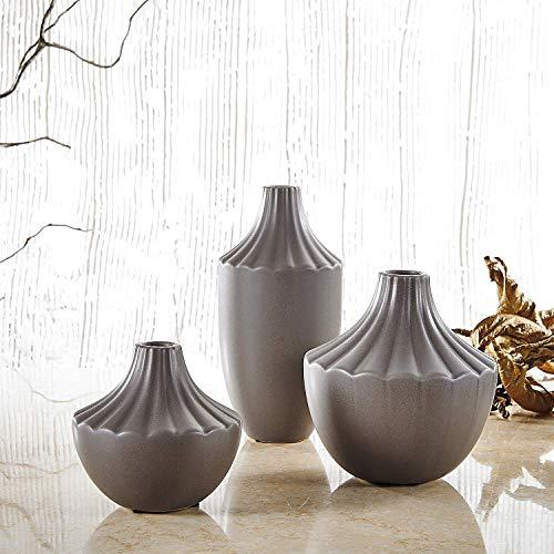 Pure. Lifestyle - Lot de 3 Vases en Céramique Décoration Maison Salon Chambre Table Porcelaine Hauteur 20,5 & 15 & 11,5 cm Cadeau Noël Saint Valentin Anniversaire Mariage