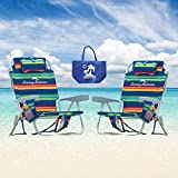 Tommy Bahama 2 Backpack Cooler Chair with Storage Pouch and Towel Bar (Orange/Red and Orange/Red)